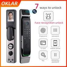 OKLAR-cerradura de puerta con reconocimiento facial, dispositivo de cierre electrónico Digital con huella Digital, de seguridad para el hogar inteligente, con WIFI y desbloqueo por aplicación remota