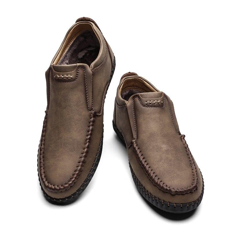casual leather winter shoes khaki fur