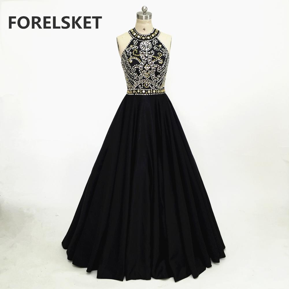 Black Satin Sequined Halter Prom Dresses Backless 2020 Women's Formal Long Evening Party Dress Crystal Beading Vestido De Festa