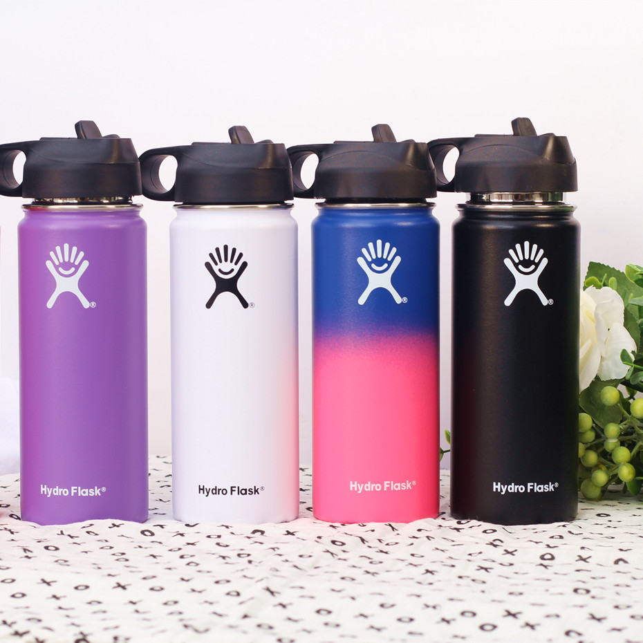 Stainless Steel Water Bottle Hydro Flask Water Bottle Vacuum Insulated Wide Mouth Travel Portable Thermal Bottle 18oz 32oz