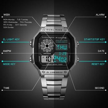 Synoke big small digital watch men women luxury gold wristwatch 50m waterproof male female clock multifunction metal body watch