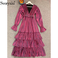 Svoryxiu 2020 Autumn Winter Runway Sexy Deep V Neck Long Dress Women's Fashion Flare Sleeve Cascading Ruffle Purple Dresses