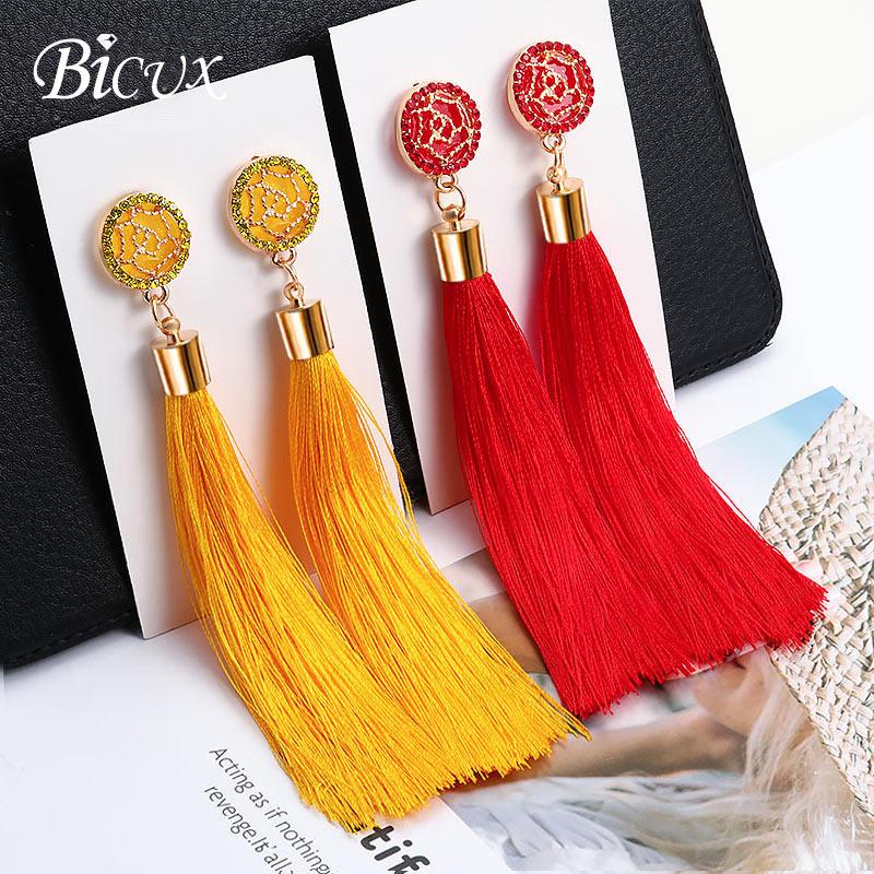 BICUX moda Bohemia borla cristal pendientes largos blanco rojo seda tela gota pendientes de borlas para mujer 2019 joyería