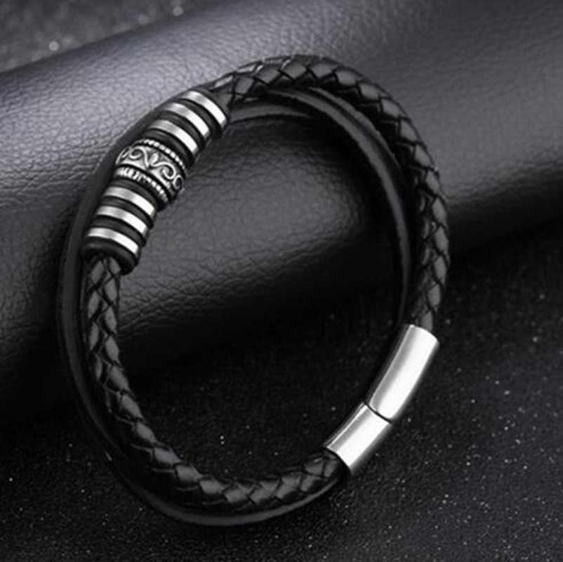 Классический Кожаный браслет в стиле панк, искусственная кожа, браслет из нержавеющей стали с магнитной застежкой, мужские ювелирные изделия, подарки