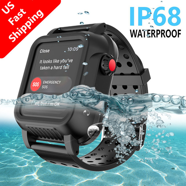 For Apple Watch Series 4 40MM 44MM Case IP68 Waterproof Shockproof PC Bumper Case+Rubber Watch Band Strap for iWatch 3 38 42MM