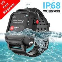 Pour Apple Watch Series 4 40MM 44MM boîtier IP68 étanche antichoc PC pare chocs boîtier + bracelet de montre en caoutchouc pour iWatch 3 38 42MM