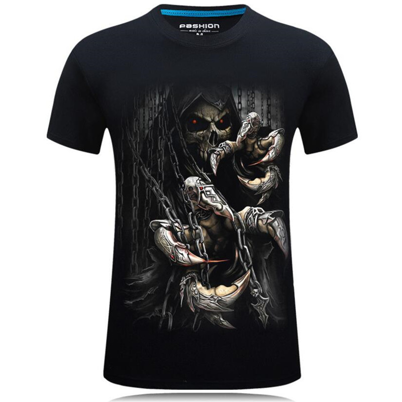 Nice Summer Style 3D T shirts Men Skull Printed Hip Hop Boys Tops Casual Short Sleeve O Neck T Shirt Tees Male Camiseta 5XL 7XL - 6