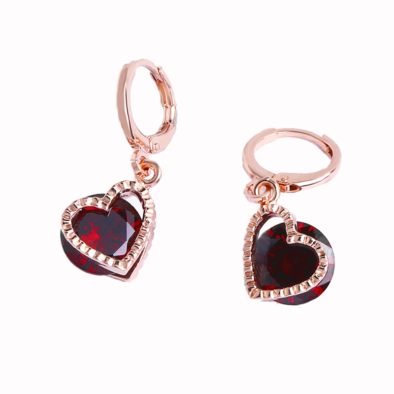 Luxury Rose <font><b>Gold</b></font> <font><b>Drop</b></font> <font><b>Earrings</b></font> With Stones Heart <font><b>Earrings</b></font> <font><b>Elegant</b></font> Sexy Korean Women Fashion Romantic <font><b>Jewelry</b></font> Gift ers-p90 image