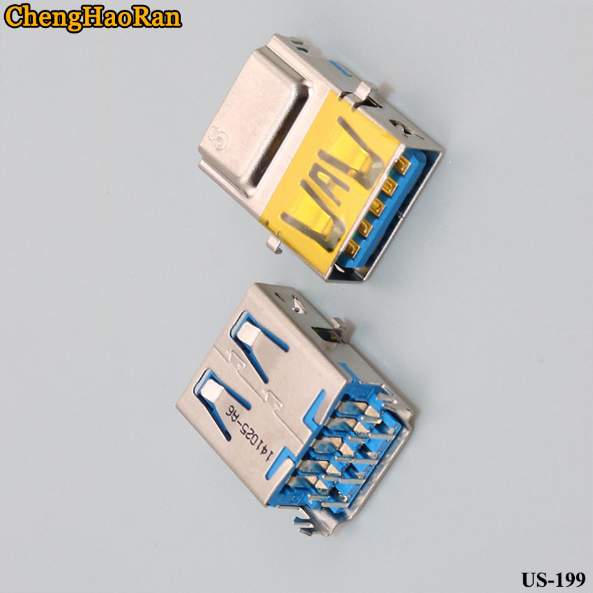 ChengHaoRan 2pcs/lot Laptop USB 3.0 Interface Socket Hole 9-pin Connector Female Sinking Type USB Data Charging Port