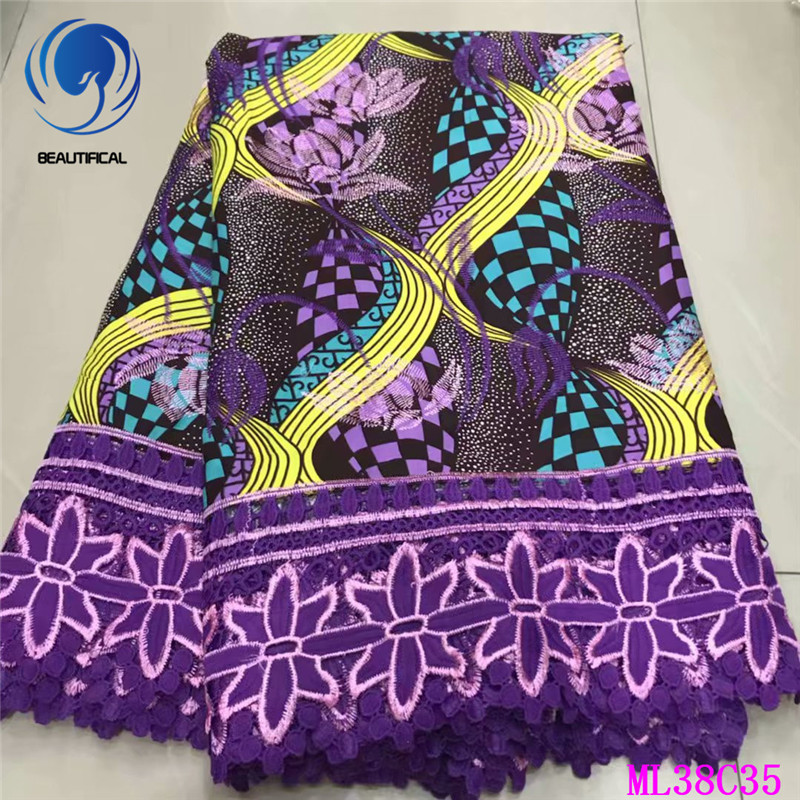 BEAUTIFICAL Quality Laces Fabrics 2019 Ankara Prints Wax Laces 6 yards African Wax French Guipure Lace for Dress Sewing ML38C35