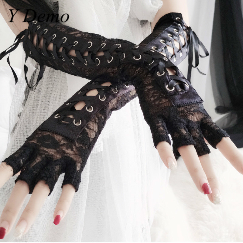 Gothic Sexy Patchwork Hollow Out Women Glove Casual  Lace Accessory