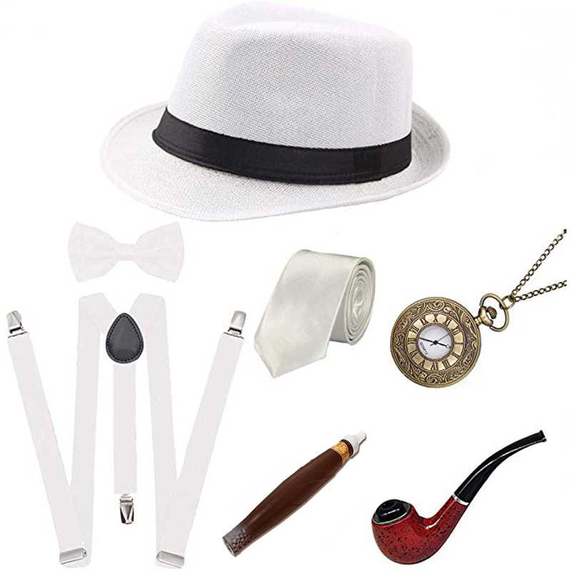20s 30s Retro Party 1920S Mens Great Gatsby Accessories Set Roaring Gangster Costume Costume Pipe Vintage Pocket Watch Cigar
