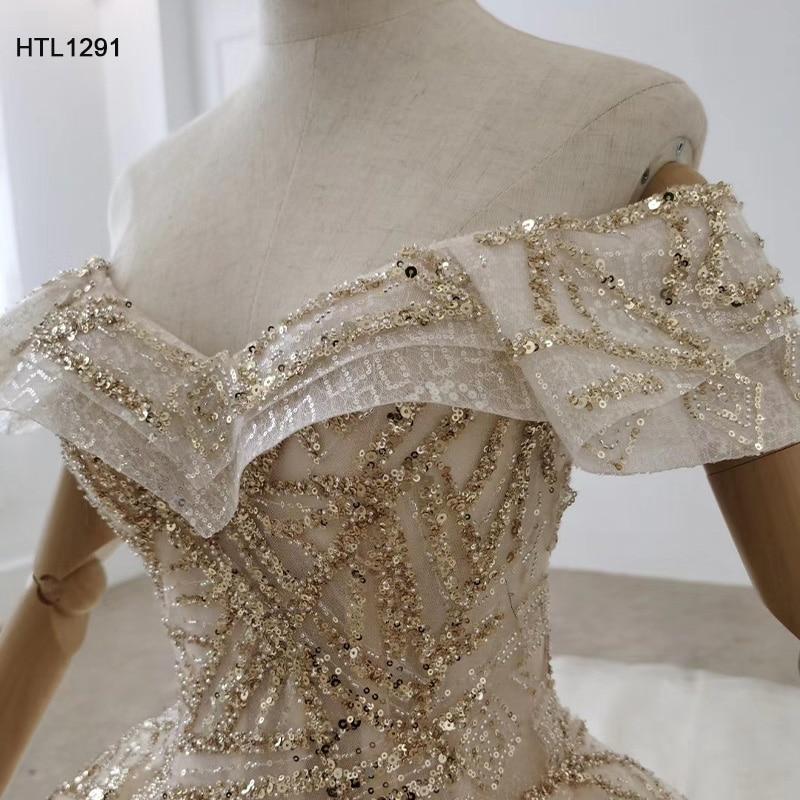 Image 5 - HTL1291 вечернее платье с открытыми плечами 2020 с аппликацией из Золотых Блесток женское вечернее платье большого размера со складками на шнуровке сзади Vestidos ElegantesВечерние платья    АлиЭкспресс