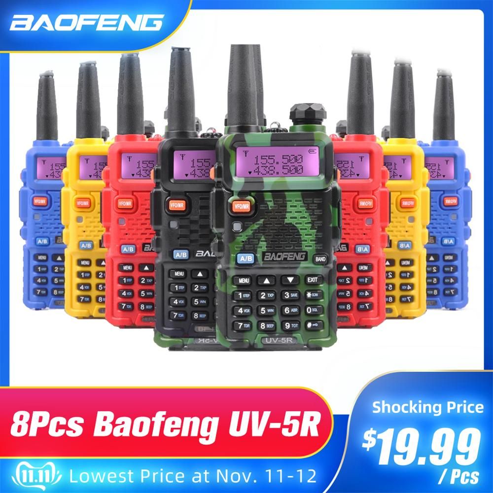 8Pcs Walkie Talkie Baofeng UV-5R Handheld CB Radio Station Dropshipping UV 5R Transceiver 5W VHF UHF UV 5R Hunting Ham Radio