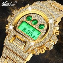 Мужские многофункциональные часы MISSFOX, цифровые часы с подвеской G, светодиодный бренд класса люкс, 18 К золото, хип-хоп