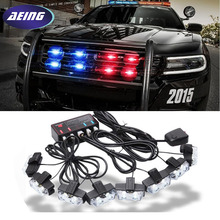 цена на Free Shipping!!Red Blue Amber White 8 x 2 LED Flash Emergency Strobe Car Grill Light Ultra Bright 16 LED EMERGENCY STROBE LIGHTS
