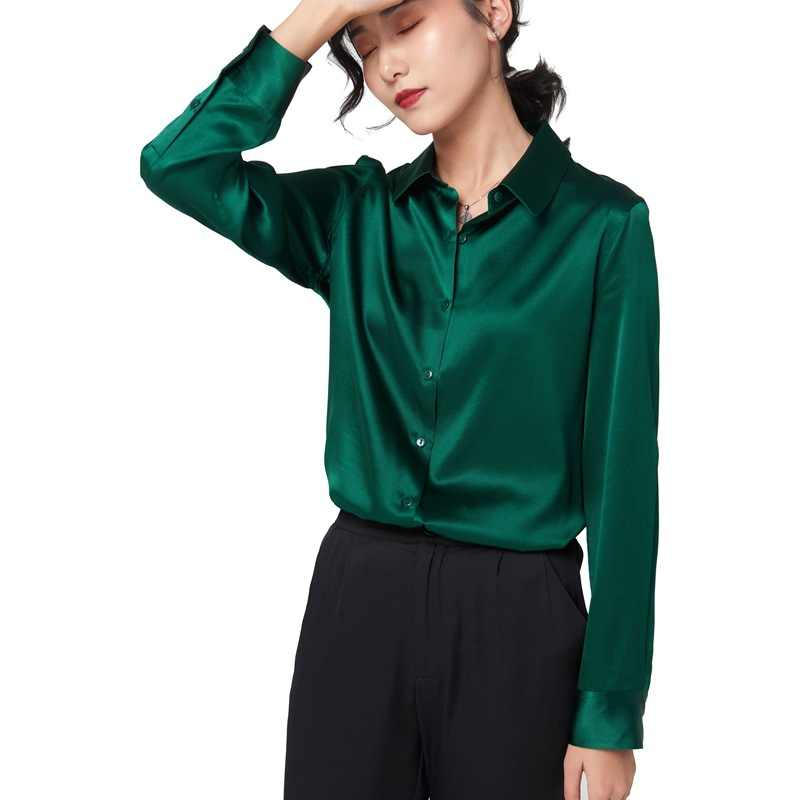 Lange Zijde Lente 2020 Mouwen Vrouwen Zwarte Mode Vrouw Blouses Shirts Solid Camisas Mujer OSS-2806-22 Pph420