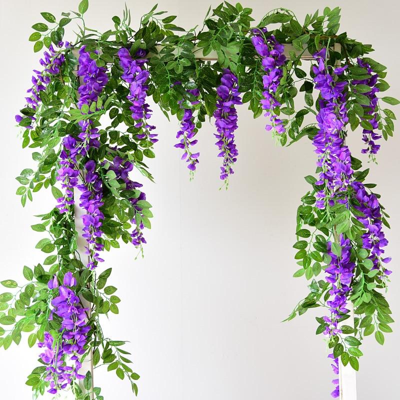 Hot 2M Glyzinien Künstliche Blume Reben Kranz Hochzeit Arch Dekoration Gefälschte Pflanzen Blatt Rattan Hinter Gefälschte Blume Ivy Wand