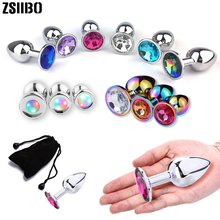 Stainless Steel Anal Plug With Crystal Jewelry Prostate Massager Sex Toys Dilator For Women Men Gay Couples SM GS20
