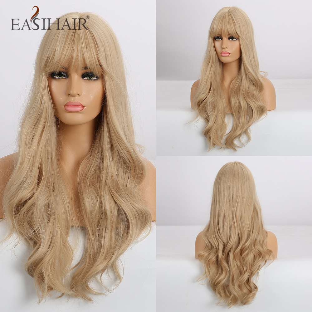 EASIHAIR Long Blonde Wavy Synthetic Wigs For Women Wigs With Bangs High Density Natural Cosplay Wigs Brown Ombre Heat Resistant
