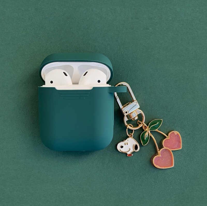 Coreano bonito Acessórios fone de Ouvido Bluetooth Fone de ouvido de Silicone Caso para Apple Airpods Capa Protetora Com Cereja Cão Anel Chave