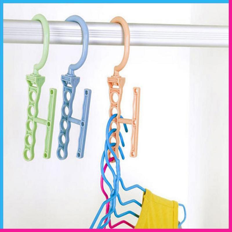 Складные вешалки для одежды, креативная Вращающаяся ручка, 5 отверстий, ветрозащитная вешалка, органайзер для детской одежды|Сушилки для белья|   | АлиЭкспресс