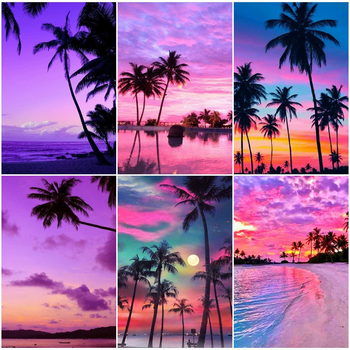 5D DIY Diamond Painting Landscape Full Square Drill Embroidery Seaside Cross Stitch Sunset Decoration Home - discount item  44% OFF Arts,Crafts & Sewing