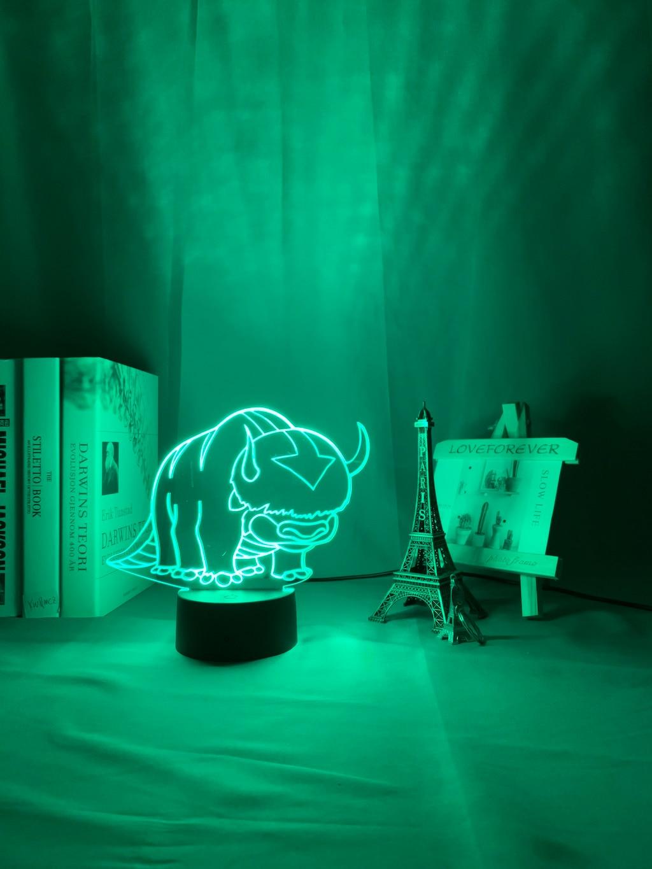 H4abcc26dbed7437b93a7bb43acba1a8em Luminária Acrílico 3d Lâmpada Nightlight Avatar The Last Airbender para As Crianças Decoração Do Quarto Da Criança A Lenda de Aang Figura Mesa Appa luz da noite