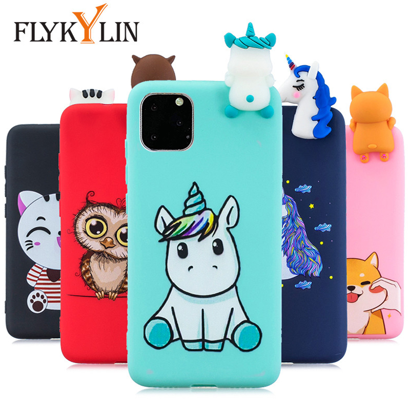 FLYKYLIN <font><b>Case</b></font> For <font><b>iPhone</b></font> 11 Pro Max 5 5S SE <font><b>XS</b></font> XR <font><b>X</b></font> 6 S 6S 7 Plus 8 Cover on Unicorn Soft TPU <font><b>Silicone</b></font> <font><b>3D</b></font> Dolls Toy Phone Coque image