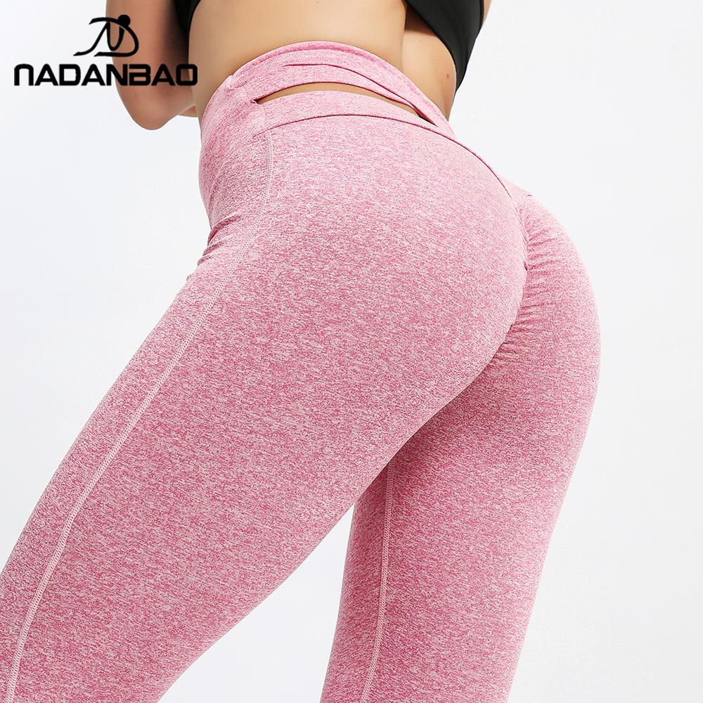 NADANBAO High Waist Sporting Leggings For Women Fitness Leggins Fashion Elastic Slim Pants Push Up Outdoor Sweatpants