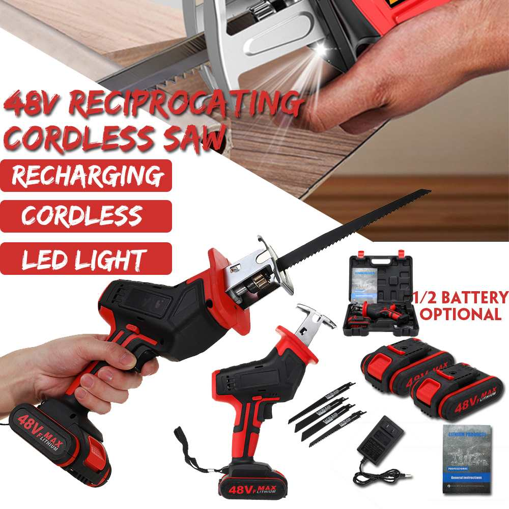 48V 1/2 Battery Cordless Reciprocating Saw + 4 Saw Blade Metal Cutting Wood Tool Portable Woodworking Cutters AC 110V-240V