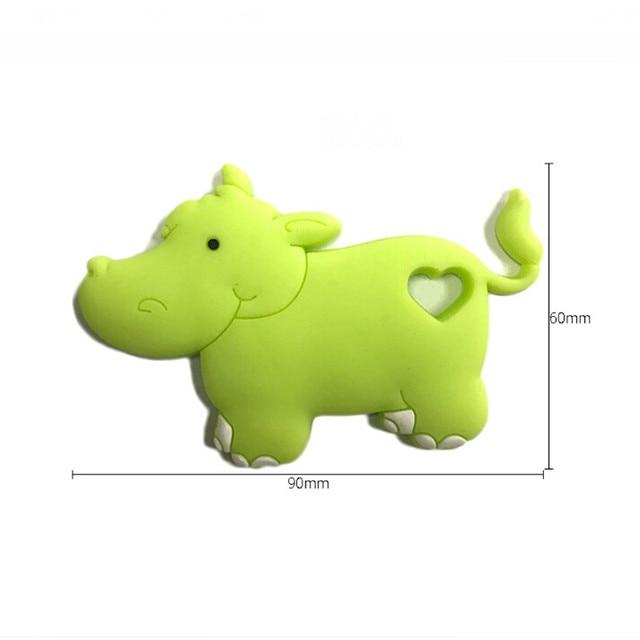 1 adet gıda sınıfı silikon Hippo diş kaşıyıcı boncuk BPA ücretsiz bebek diş çıkarma çiğnemek Charms kolye kolye oyuncak hediye