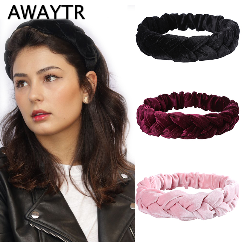 AWAYTR New Winter Velvet Braid Headband Women Elastic Wide Hairband Ladies Retro Fashion Twist Turban Female Hair Accessories