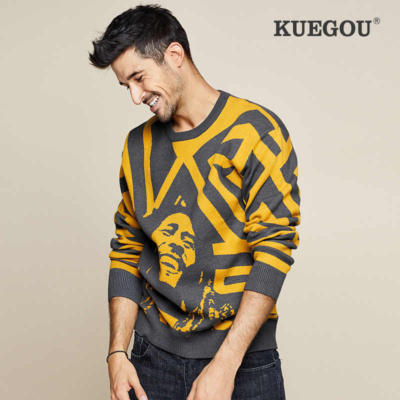 Kuegou Herfst Winter Mannen Trui Merk Warme Gebreide Mode Truien Pure Kleur Leisure Losse Truien Top Plus Size LZ-1754
