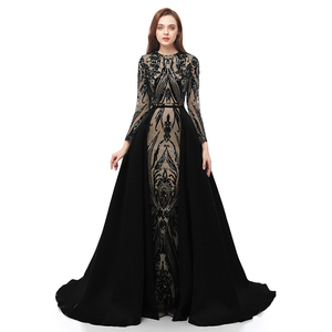 Image 5 - Manga longa robe de soiree muçulmano verde vestidos de noite 2020 com destacável trem lantejoulas marroquino kaftan formal baile de formatura vestido de festa