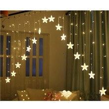 XYXP 3 м 16 Светодиодный светильник-гирлянда со звездами и занавесками, Рождественский Сказочный светильник, светодиодный светильник, гирлянда для свадьбы, дома, вечерние, на день рождения, украшение ЕС