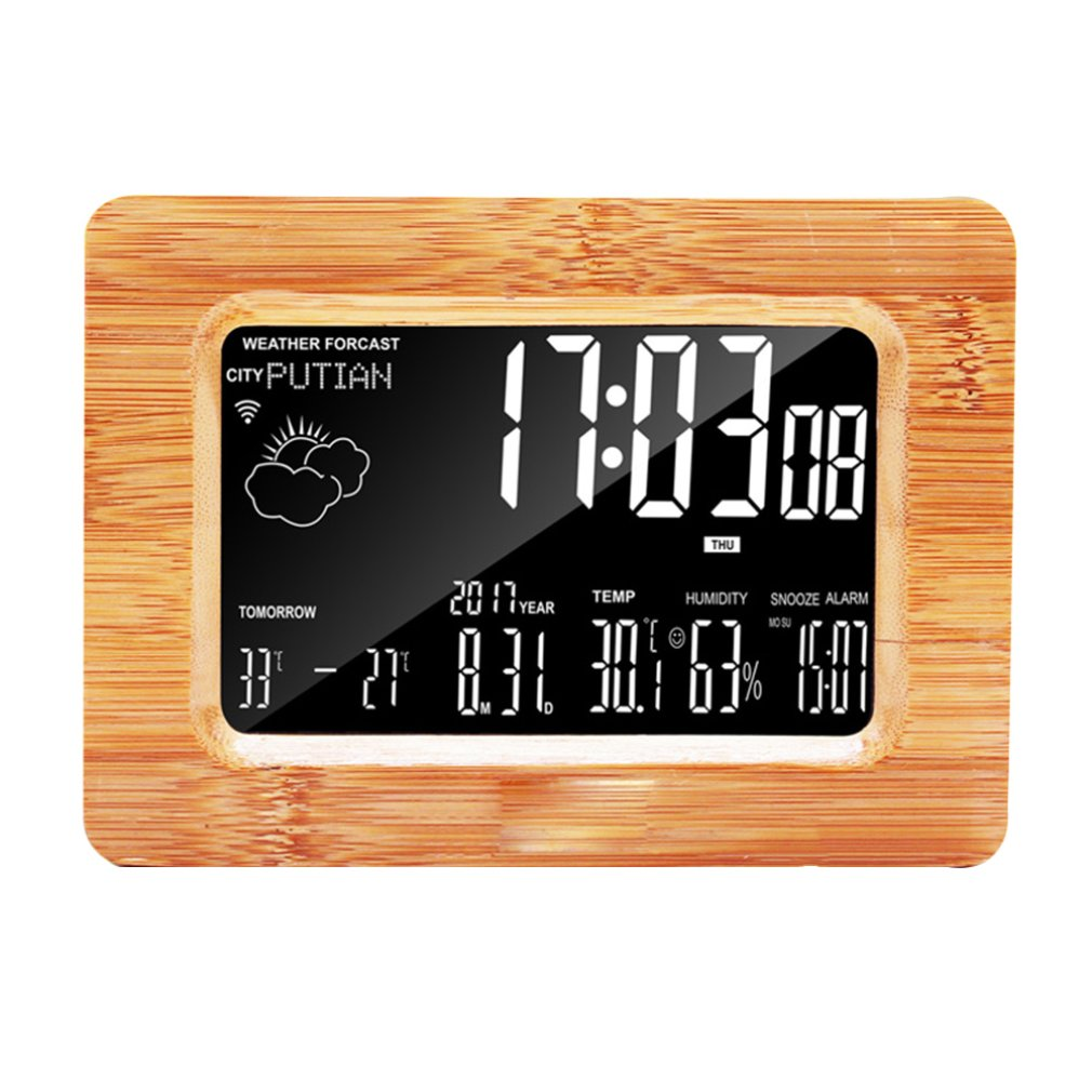 Solid Wood Mobile Phone App wifi Perpetual Calendar Weather Forecast Alarm Clock Electronic Desktop Multi-function Creative image