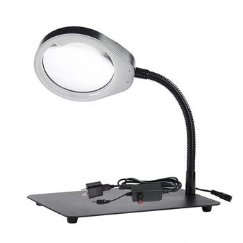 "LED Magnifying Lamp Swing Arm Desk Lamp Stepless Dimming ,Magnifier lamp 10X, 5""Diameter Lens"