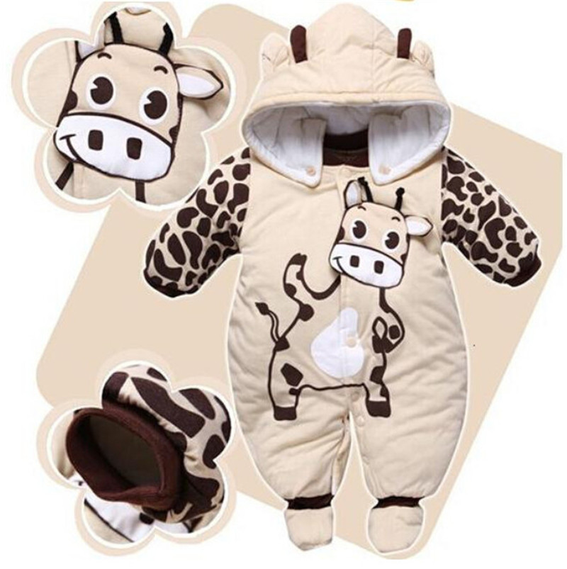 2019 One-piece Baby Boy Footies Baby Girl Clothes For Winter Warm Padded Jumpsuit Hooded Outfit Clothing 3-24 Months Babys