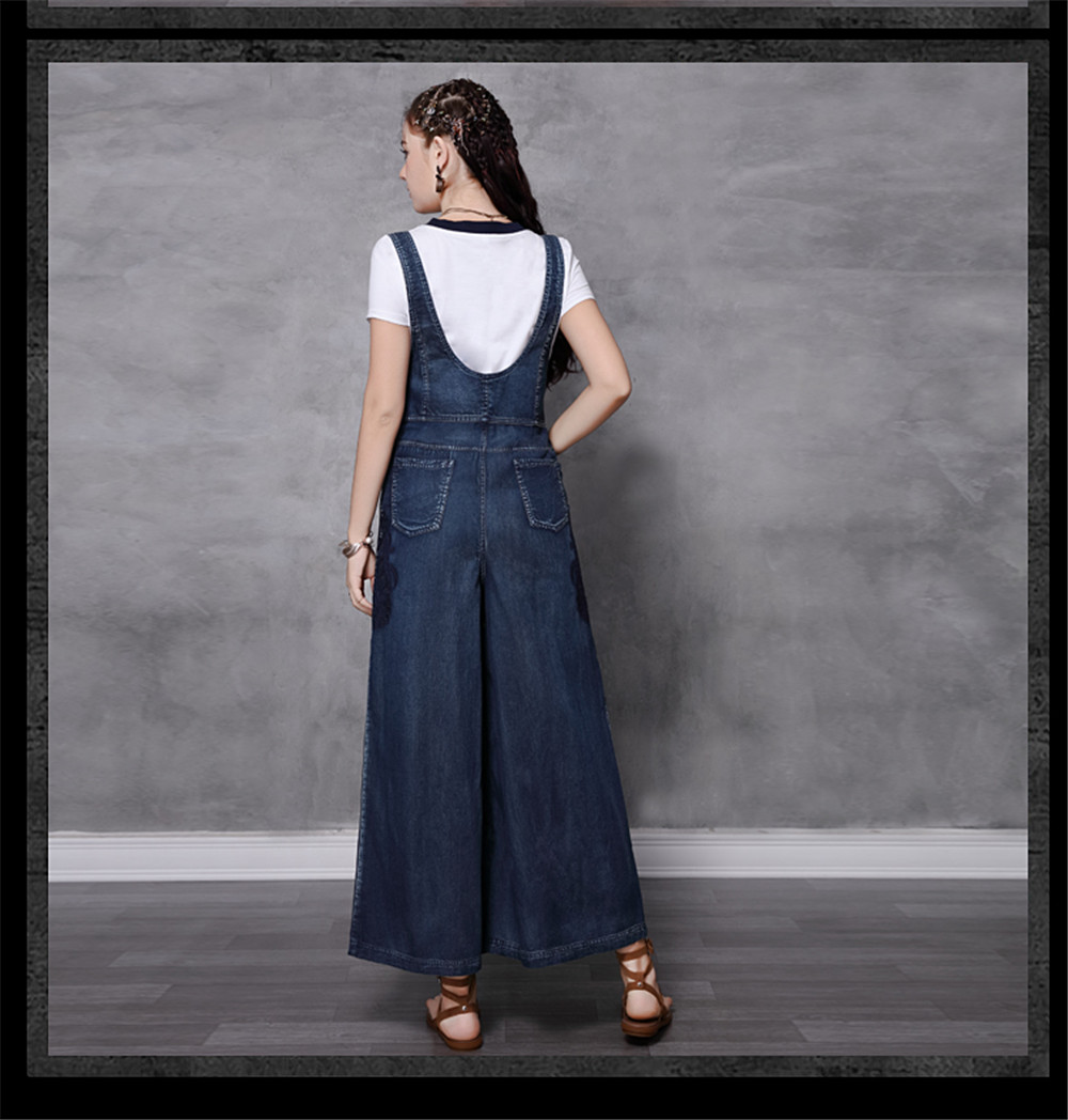 Vintage Women Denim Jumpsuit 2020 Summer Bodysuit Embroidery Color Blocks Spaghetti Strap Jumpsuits Overalls Femme 82208 (14)