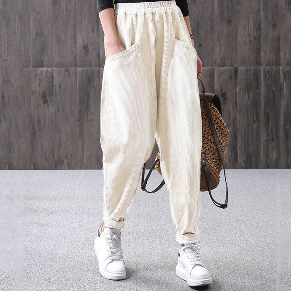 Vintage Style Pants Corduroy Women Elastic Waist Casual Loose Harem Pants Long Womens Sports Trousers