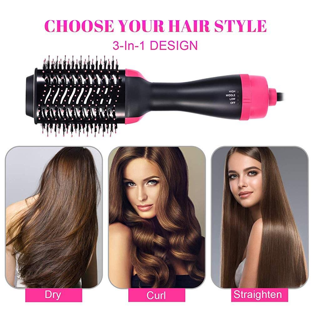 One Step Hair Blower Hair Straightener Curling Volumizer Brush Dryer Straightener Curler Styling Tangle Straightening Comb