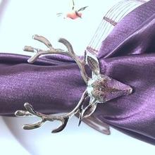 1 шт Золото Серебро Олень голова салфетка Пряжка рождественское кольцо для салфетки в форме оленя кольцо отель декоративный рот ткань пряжка кольцо Металлическое для салфетки