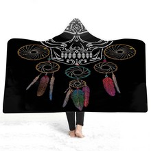 Skull Hooded Blanket For Adults Childs 3D Printed Soft Plush Bed Portable Warm Throw Home Travel Picnic