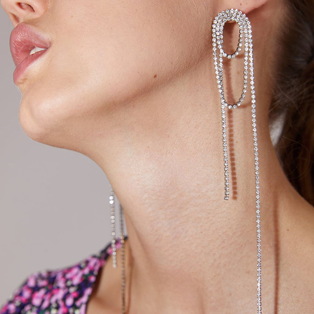 Flatfoosie Elegant Crystal Long Tassels Earrings for Women Silver Color Bridal Brincos Wedding Dangle Earring Statement Jewelry