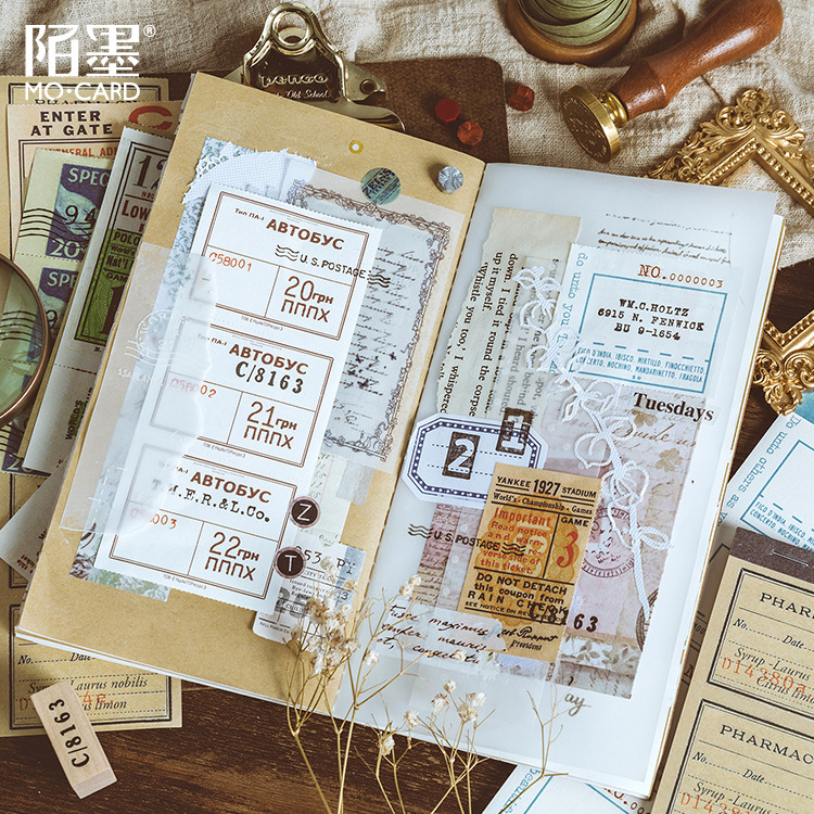 Cold Transfer Train Coupon Mail Sticky Notes Antique Notes Vintage Paper Old And Series Scrapbooking Sticker