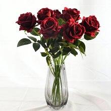 10 шт настоящие розовые цветы фланелевый букет цветов одна голова