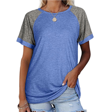 Plus Size Women Clothes Summer Round Neck Splicing Tee Shirt Femme Short Sleeve Loose Ladies Tops Female Oversized