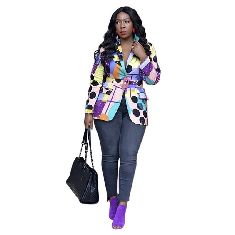 2020 Spring Women Print Blazer Jacket OL Work Office Blazers Sashes Long Sleeve Outfit High Street Coat Outerwear Casual Tops