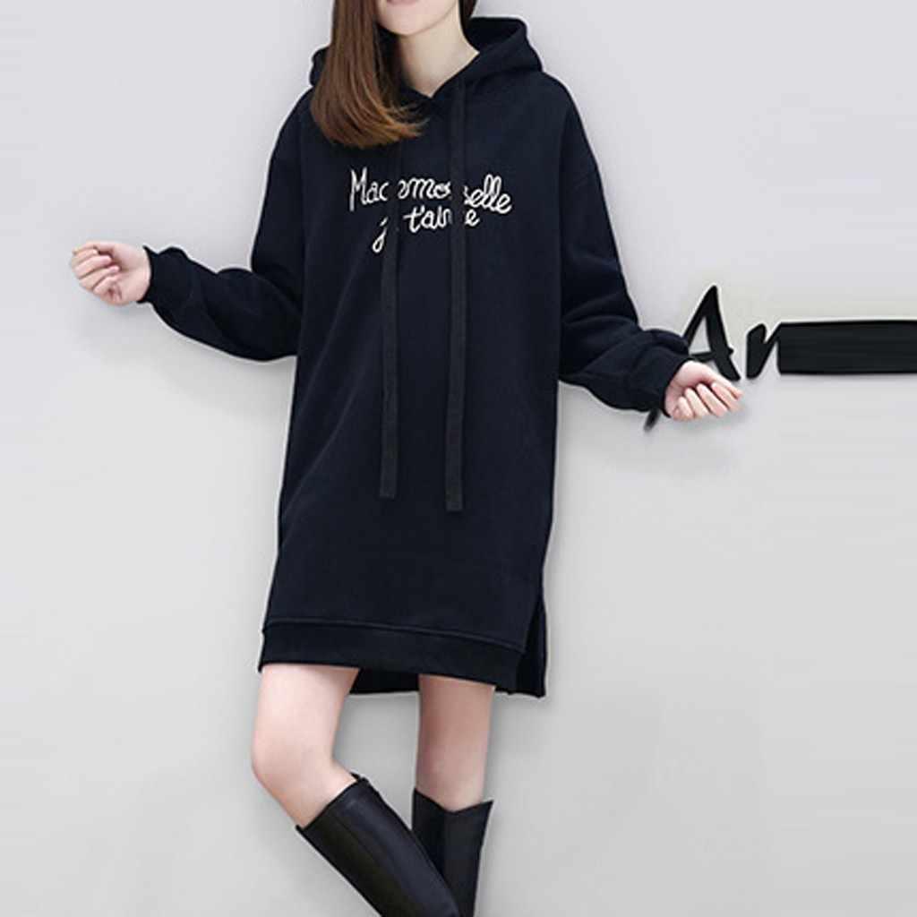 Hoodies mulheres Vestido Moda Outono Camisola Do Hoodie de Manga Longa Carta de Impressão Com Capuz Solto Vestido Roupas Feminina #20